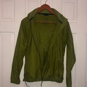 olive green LL Bean rain jacket